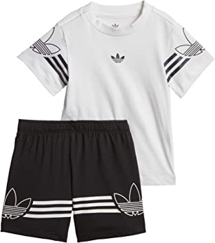 adidas Outline tee Set Conjunto Deportivo, Unisex niños, Blanco ...