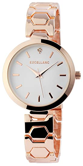 Reloj mujer color blanco rosado. Oro Analog brillantes metal Reloj de pulsera