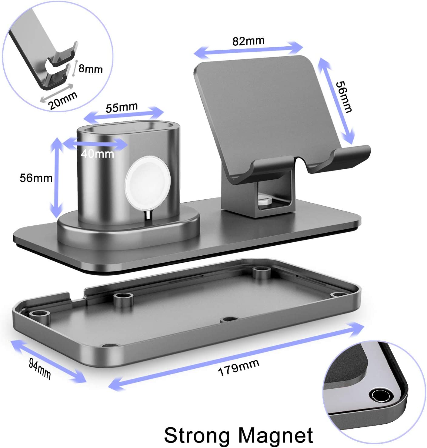 Charging Stand for iPhone//Apple Watch//Airpods//ipad and Most Smartphones 180/°Rotation Phone Charger Stand Holder,3in1 Charger Dock Rose Gold