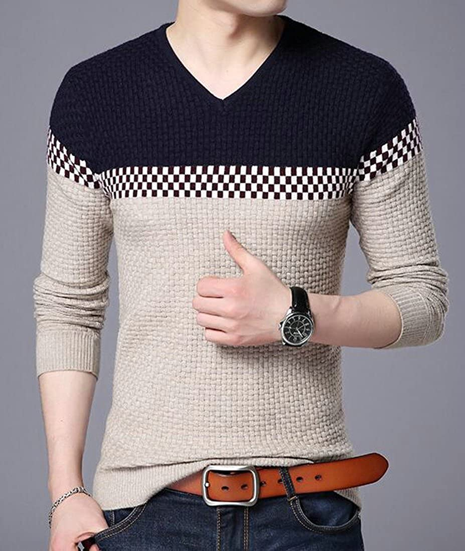 Pluszing Mens Pullover Fall//Winter Spliced Thicken Stylish Slim Fit V Neck Knit Sweater