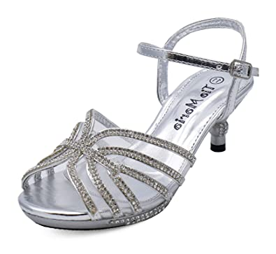 afc137bef6aa Girls Childrens Silver Diamante Low-Heel Sandals Pretty Party Dress Shoes  Sizes 10-2  Amazon.co.uk  Shoes   Bags