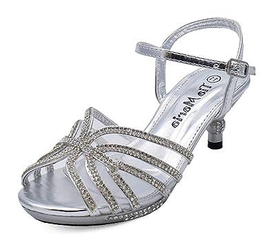 10771e414fe5 Girls Childrens Silver Diamante Low-Heel Sandals Pretty Party Dress Shoes  Sizes 10-2  Amazon.co.uk  Shoes   Bags