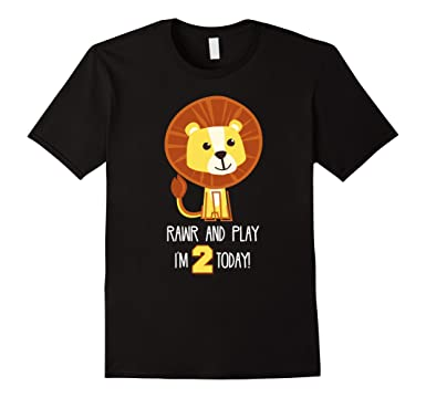 Mens Kids 2 Year Old Lion Birthday Shirt Boys 2nd 2XL Black
