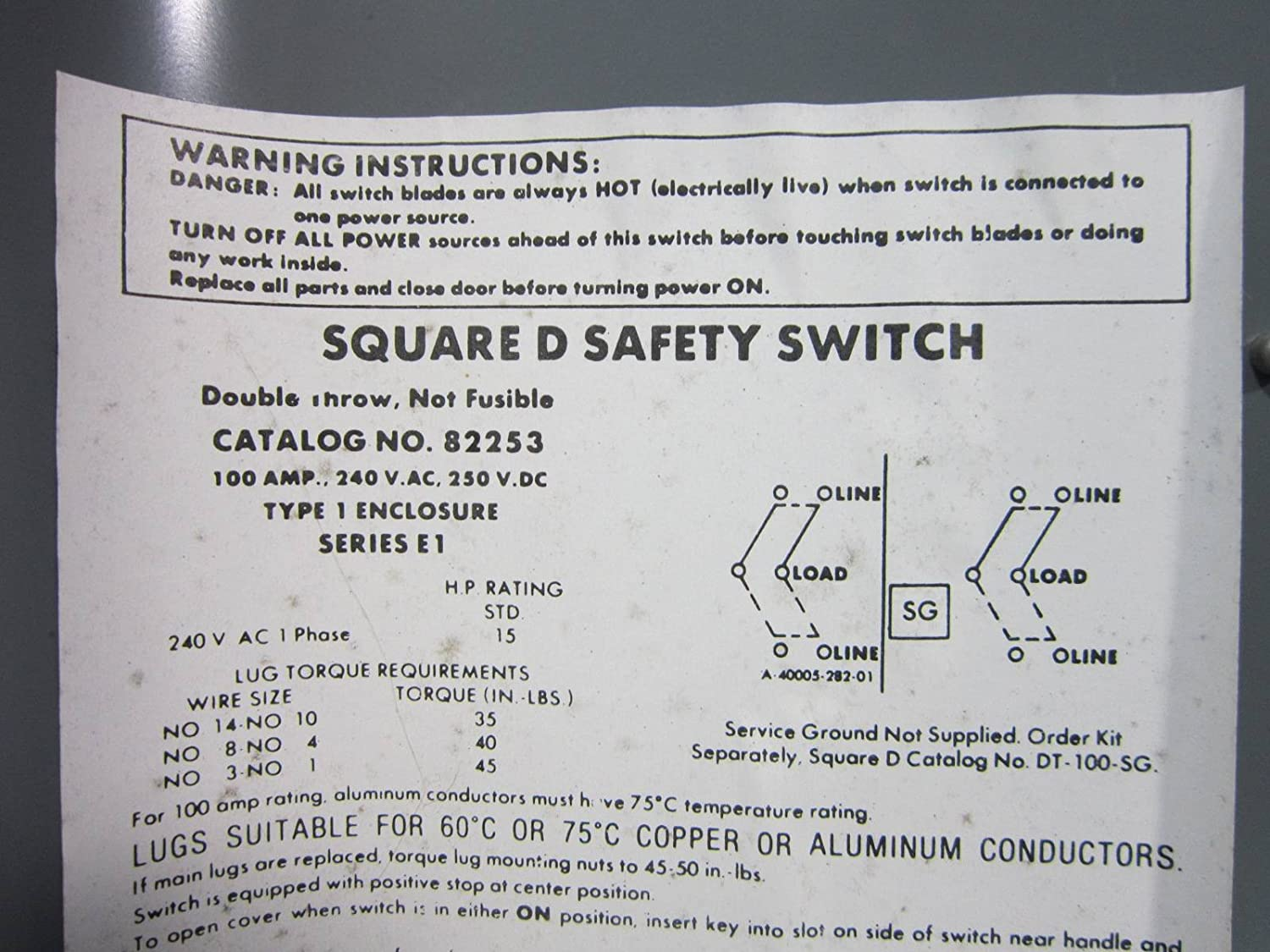 Square D 82253 Double Throw Safety Switch 100 Amp 240V Manual ...