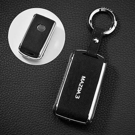 Ontto Smart Autoschlüssel Hülle Cover Für Mazda 3 Alexa Cx 30 2019 2020 Cx 5 Cx 8 2020 3 Tasten Wildleder Schlüsselhülle Schlüsselanhänger Keyless Go Schlüsselbox Schlüsselschutz Schwarz C Auto