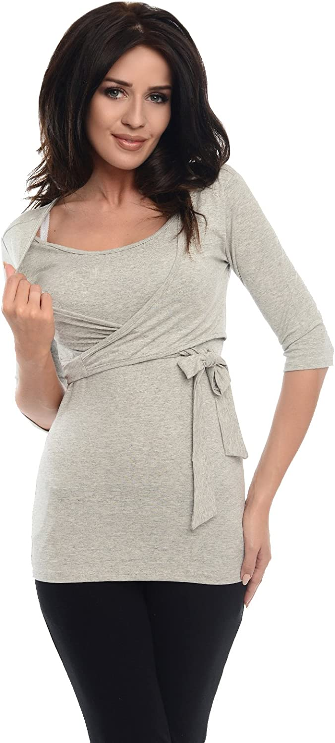 Purpless Maternity 2in1 Pregnancy and Nursing Wrap Top 3//4 Sleeved Tunic for Pregnant and Breastfeeding Women 7035