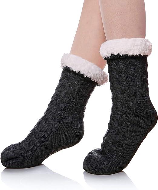 Socks 10 Pairs for Women Soft Mix Winter Crew Non-Skid Cozy Fuzzy Home Slipper Socks dots