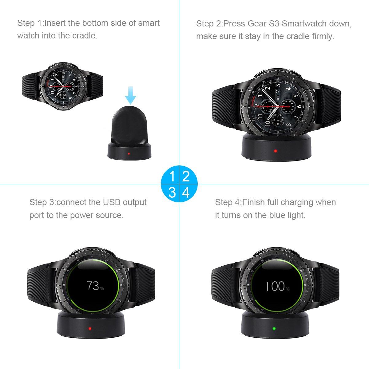Amazon.com: Cargador para Samsung Gear S3, cargador de carga ...