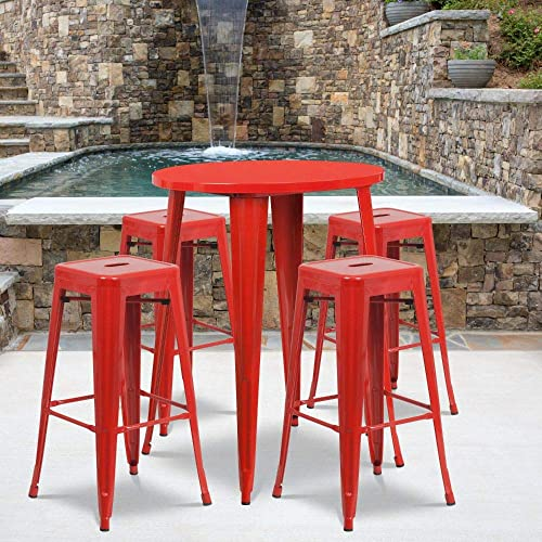 Flash Furniture Commercial Grade 30″ Round Red Metal Indoor-Outdoor Bar Table Set