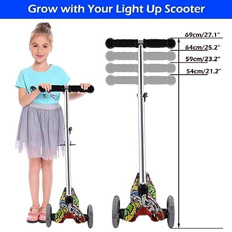 Amazon.com: Patinete infantil de 3 ruedas con luz LED ...