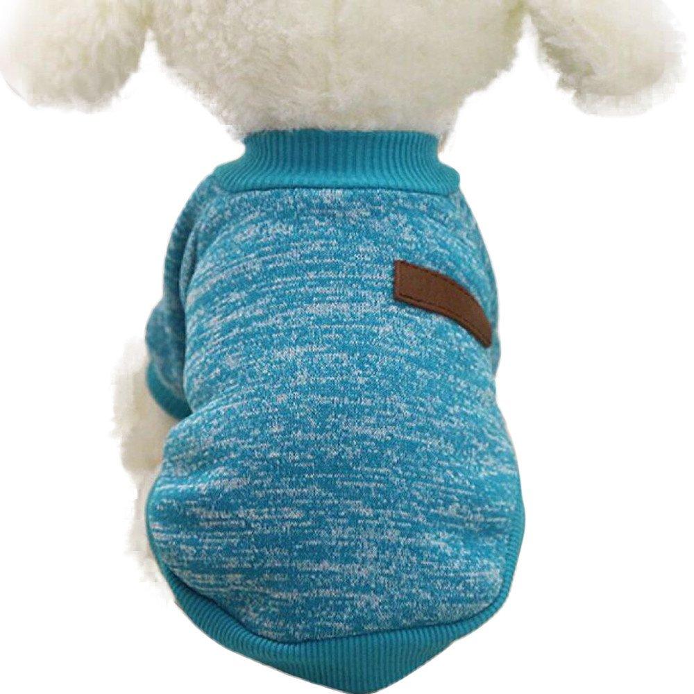 Loveso Hund Sweatshirts Winter Pullover Puffer Hundemantel Hunde Puppy Kleine Haustier Warm Kleidung Dog Clothes Sweater Tops Grü n)