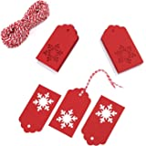 Whaline 100 Pack Paper Tags Kraft Gift Tags Snowflake Shape Hang Labels with 30 Meters Natural Twine for DIY Arts and Crafts, Wedding Christmas Thanksgiving and Holiday (red)