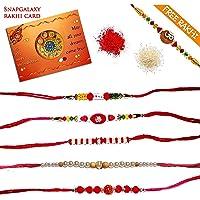Snapgalaxy Rakhi Tika Chawal and a Rakhi Card - Set of 5 Pieces