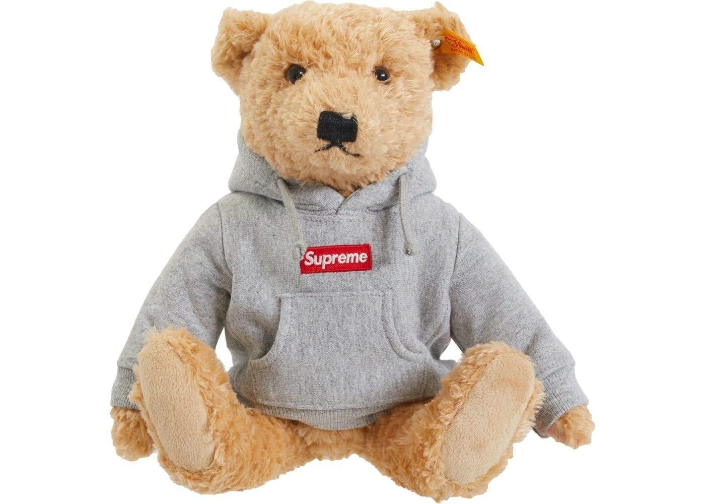 Supreme Steiff Bear Heather Grey Box Logo Hoodie FW18 100% Authentic Real