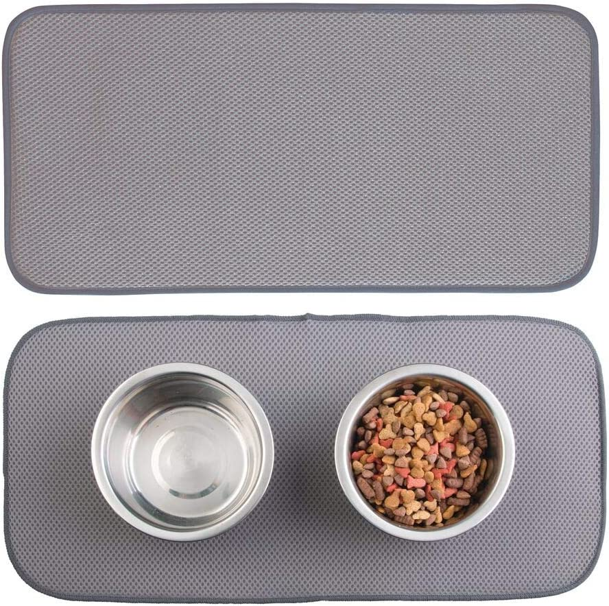 mDesign Premium Quality Microfiber Polyester Pet Food and Water Bowl Feeding Mat for Cats - Ultra Absorbent Reversible Placemat - Folds for Compact Storage - Small, 2 Pack - Pewter Gray/Ivory