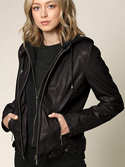 Lock and Love Women' Faux-Leather Moto Biker Jacket