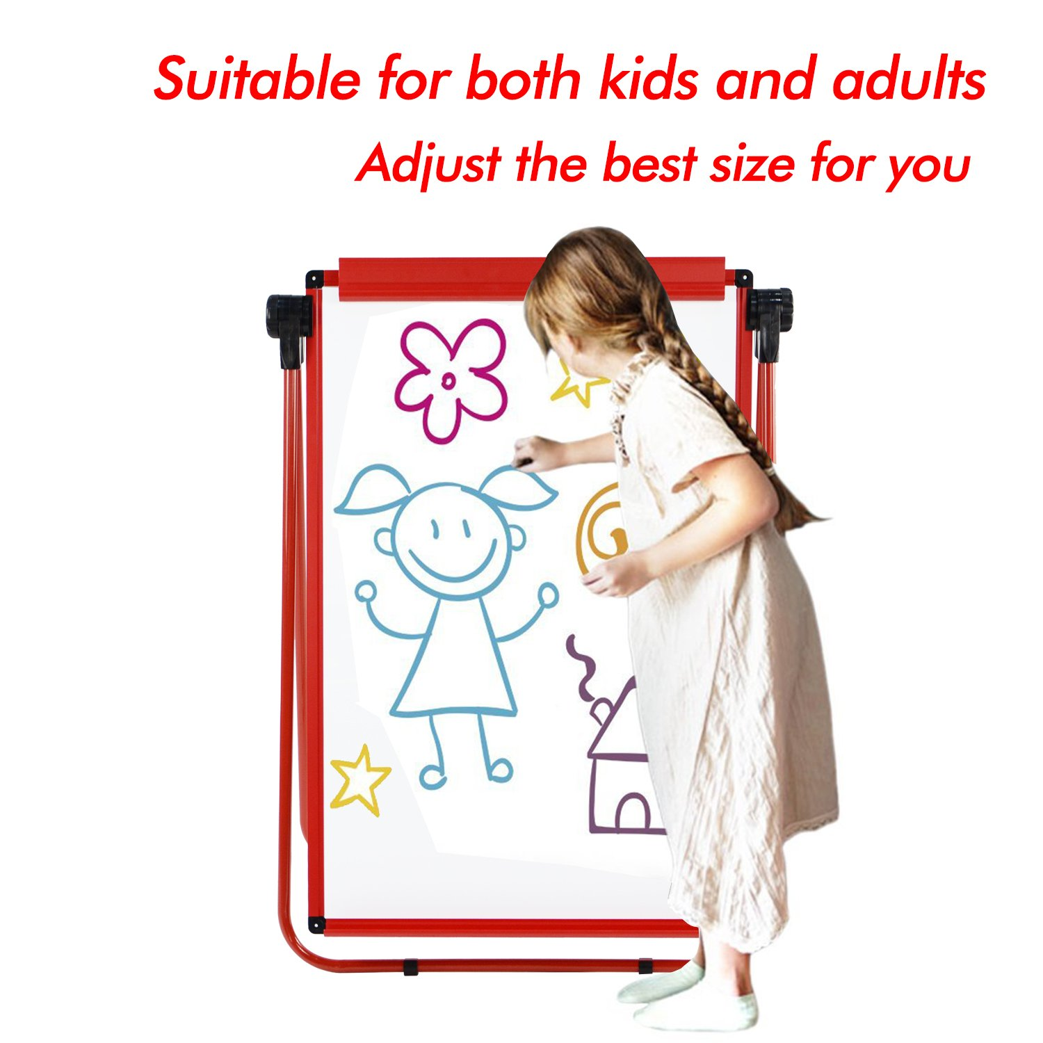 6 Magnets for Free Board2by U Stand Whiteboard Easel 360 Degree Rotating 25-Sheet Papers 24 x 36 Double Sided Magnetic Dry Erase Flipchart Red Stand Exclusive Design Magnetic Eraser/&Pens