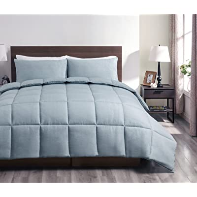 SuperBeddings Super 2PC Down Alternative Comforter Set Bed Cover | Size:Twin | Color: Light Stone Blue | Crafting :Designer Pattern (1 Bedspread, 1 Pillow Cases Included): Home & Kitchen