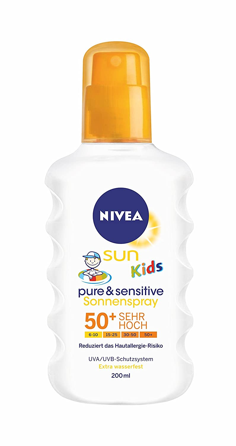 Nivea Sun Kids Pure & Sensitive Sonnenspray LSF 50+, 1er Pack (1 x 200 ml) 85847-01000-11