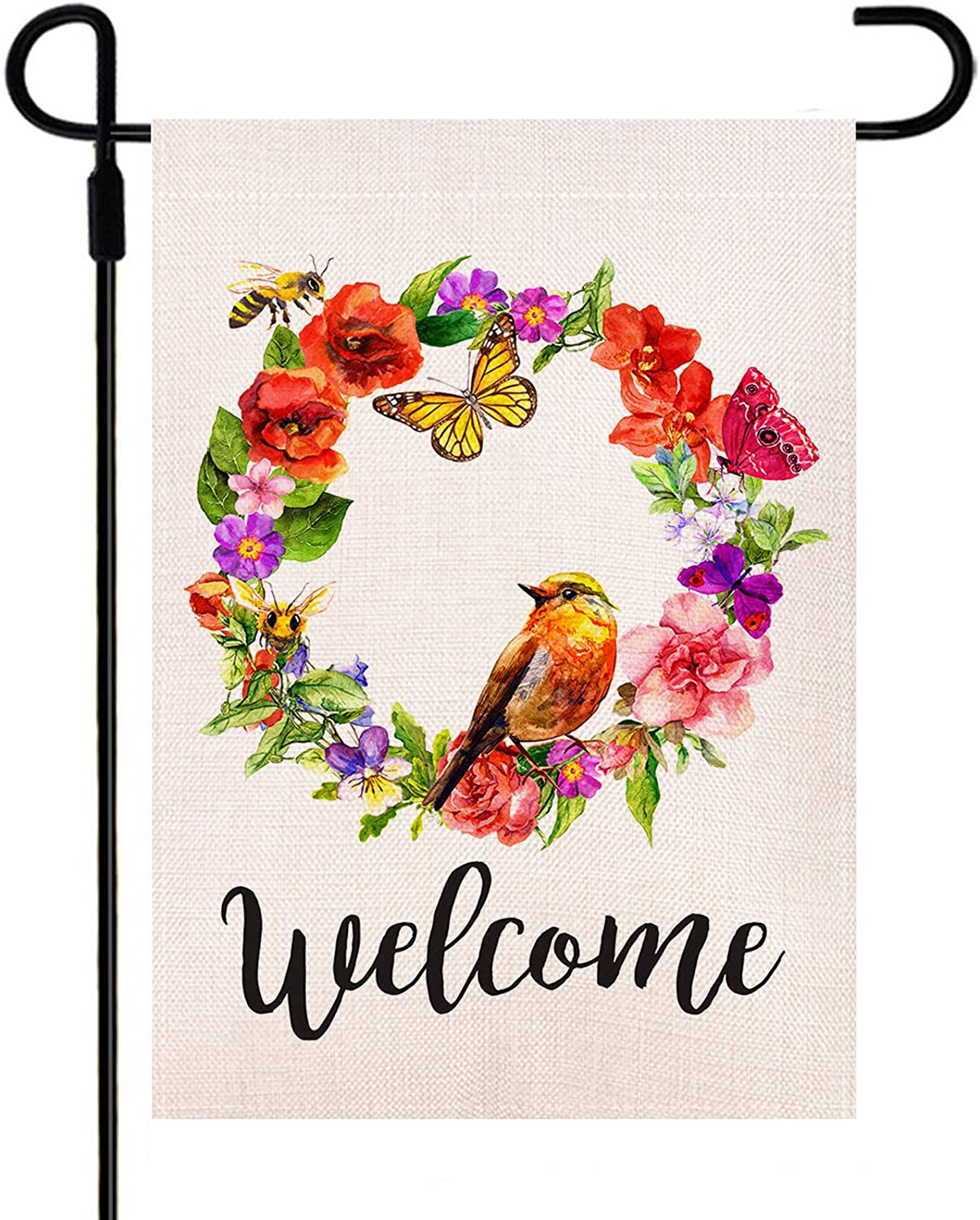 Yileqi Spring Garden Flag Double Sided Watercolor Welcome Flower Wreath Bird Butterfly Bee Flag, Burlap Seasonal Spring Summer Yard Flag 12.5 x 18 Inch Outdoor Decoration