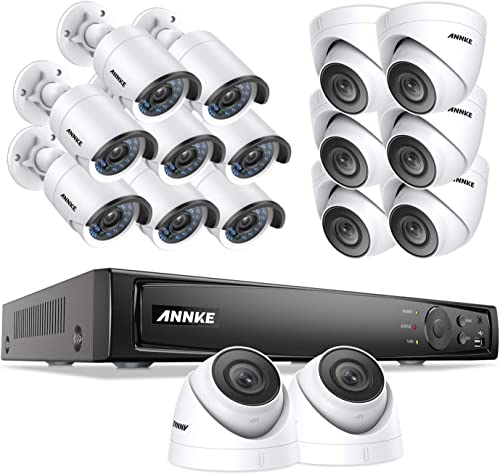 ANNKE 1080P Outdoor Video Security Surveillance System, 16CH 6MP NVR and 16 1920TVL Weatherproof HD Cameras, 100ft Night Vision, Motion Detection No Hard Drive Included