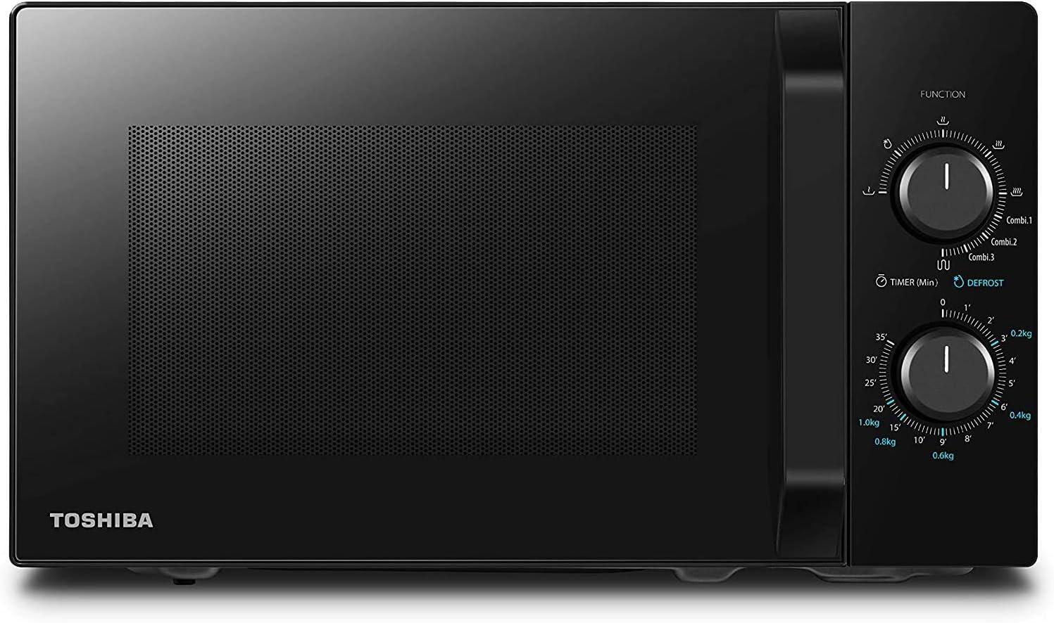 Toshiba MW2- AG23PF - Horno de microondas con grill y cocción combinada, 23 L, 8 menús fáciles, plato giratorio con memoria de posición, 900 W, grill 1050 W, 48,5 x 40,3 x 29,6 cm, negro