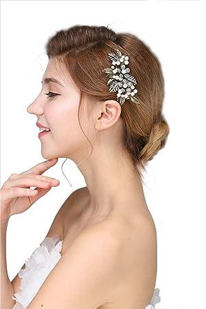 Wedding Hair Accessory  Bridesmaid Headpiece Navy Pearl Wedding Hair Clip Choice of Color Bridal Barrette Crystal and Navy Pearl Hair Clip