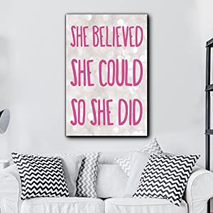 wall26 - Bold Inspirational Quote She Believed She Could So She Did Pink on Champagne Bokeh Background - Home Dorm Room Art - Canvas Art Home Art - 16x24 inches