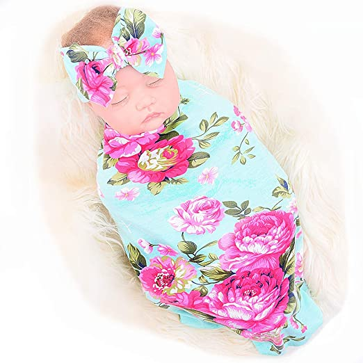 Amazon.com  Newborn Receiving Blanket Headband Set Flower Print Baby  Swaddle Receiving Blankets galabloomer  Baby d59516cfb
