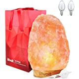 Levoit Elana Himalayan Salt Lamps with Touch Dimmer Switch, 3.5-5kg, Natural Himilian Hymalain Pink Salt Rock Lamp, Premium Quality Wooden Base, 3 Bulbs, UL Cord & Gift Box
