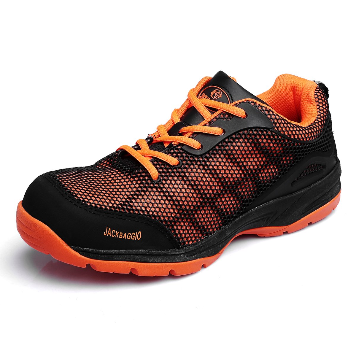 JACKBAGGIO Men's Athletic Steel Toe Breathable Mesh Lightweight Work Shoes 8824 (10.5, Orange)