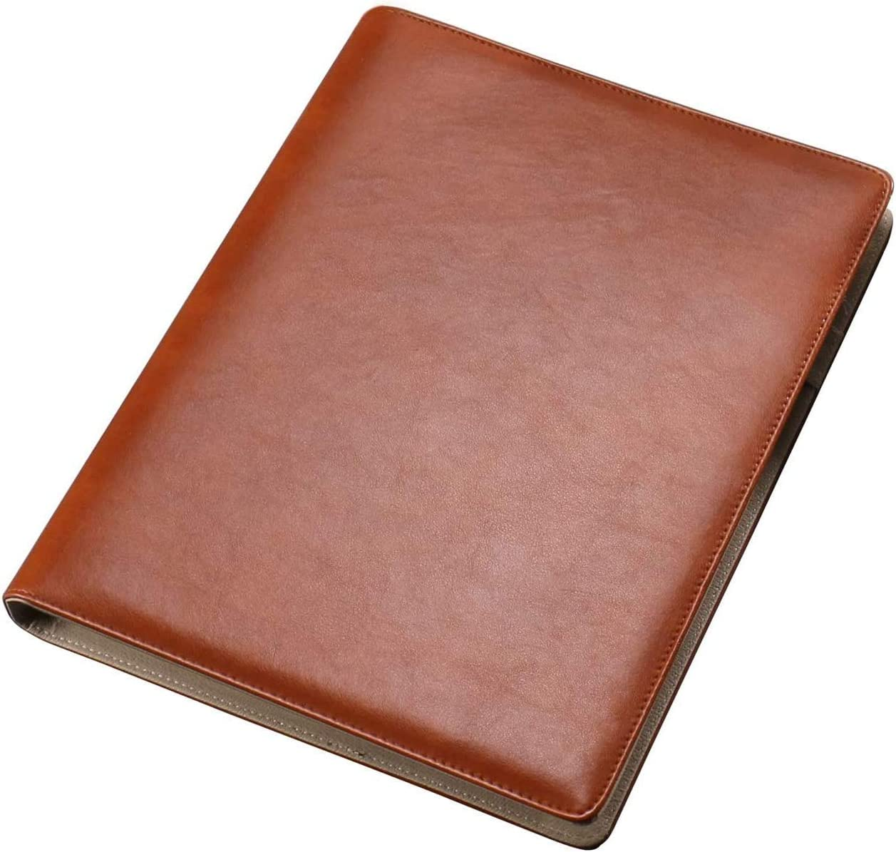 AHGXG Business Card Book Holder, Leather Organizer Binder with Folder Pen Holder, Name Card Organizer Credit Card Holder, 600 Cards, Brown Color