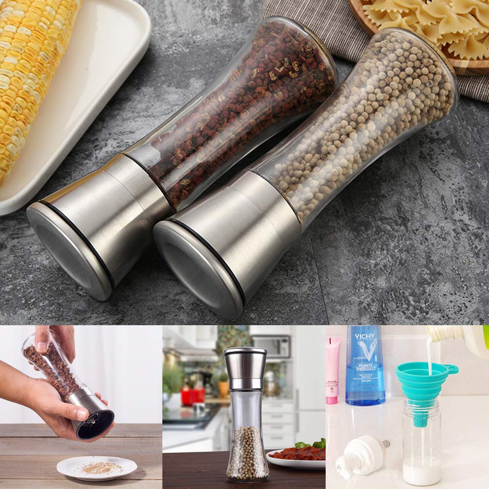 Set of 2 Premium Stainless Steel Salt and Pepper Grinders with Silicone Collapsible Funnels SourceTon Adjustable Tall Glass Salt and Pepper Shakers with Free Funnel