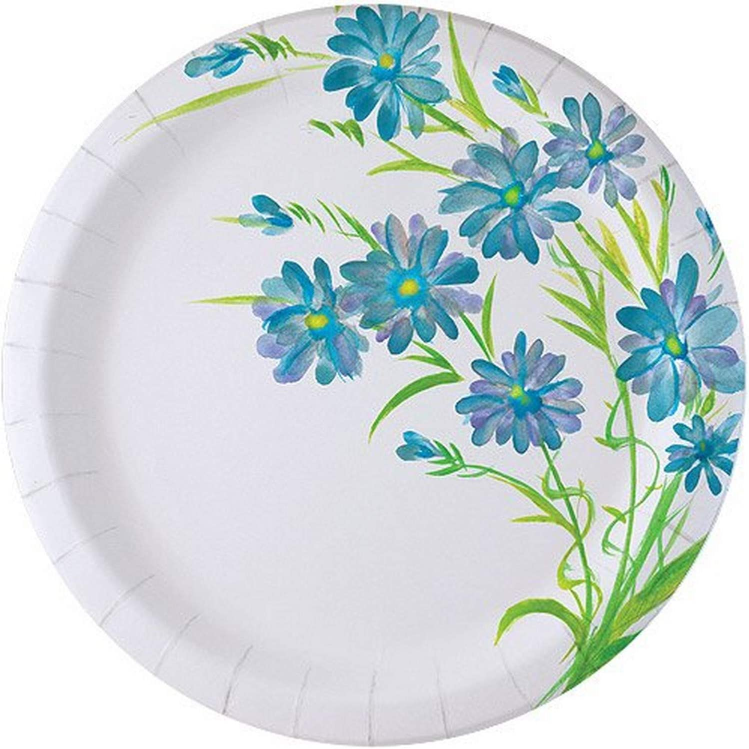 Nicole Home Collection Plates-10 | Blue Floral Collection | Pack of 24 Paper Plate, 10 inches