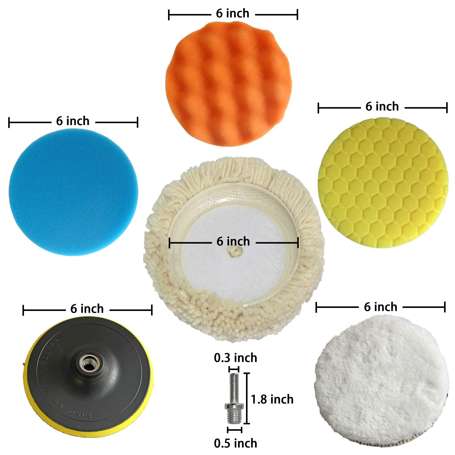 Polishing Pad Buffing Wheel Kit 10PCS with Waffle Foam & Lambs Wool Hook and 6inch Polishing Buffer Wool with M14 Drill Adapter Fit for Metal Aluminum Stainless Steel Chrome Wood Plastic Glass etc by Medoon (Image #2)
