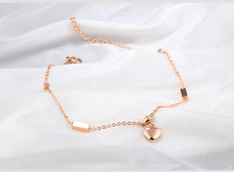 Stainless Steel Heart Foot Jewelry Anklet Bracelet Rose Gold 21.5CM Gnzoe Beach Jewelry Women Anklet