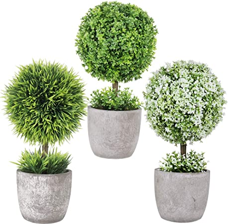 Winlyn 3 Pack Artificial Potted Plants Mini Boxwood Topiary Green Grass Ball Greenery in Pots Small Houseplants for Indoor Office Tabletop D/écor Centerpiece 9.8 Tall
