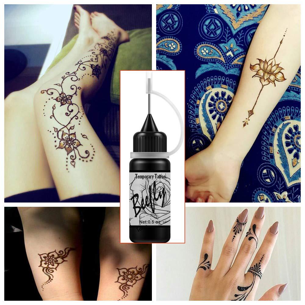 Jagua Black Tattoo Ink/Gel Kit Temporary Tattoos, Semi Permanent Tattoo Freehand Gel/Ink (Organic Jagua Fruit Based) with Special Design Tattoo Stencils,DIY Tattoos Full Kit 2 Bottles(Black)