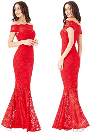 544d9a5641c Goddiva Red Lace Bardot Maxi Evening Fishtail Mermaid Formal Party Dress  Prom Bridesmaid (12)  Amazon.co.uk  Clothing