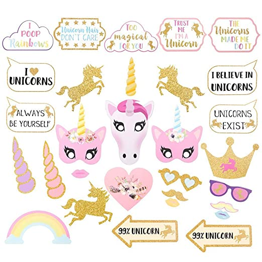 Amycute 30 PCS Unicornio Photo Booth Props, DIY Apoyos de ...