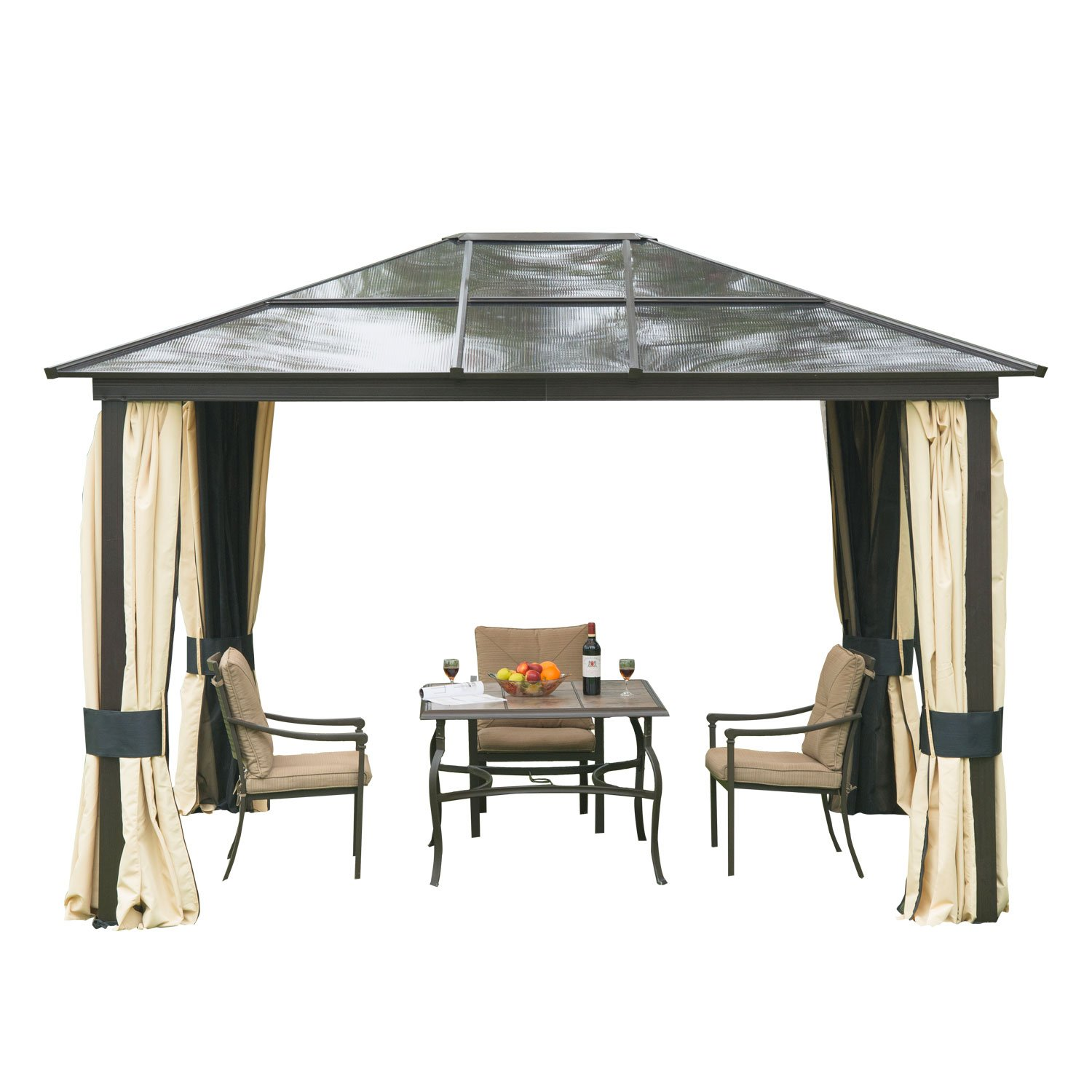 Amazon.com : Outsunny 12u0027 X 10u0027 Outdoor Patio Canopy Party Gazebo W/ Mesh  And Curtains   Beige : Patio, Lawn U0026 Garden