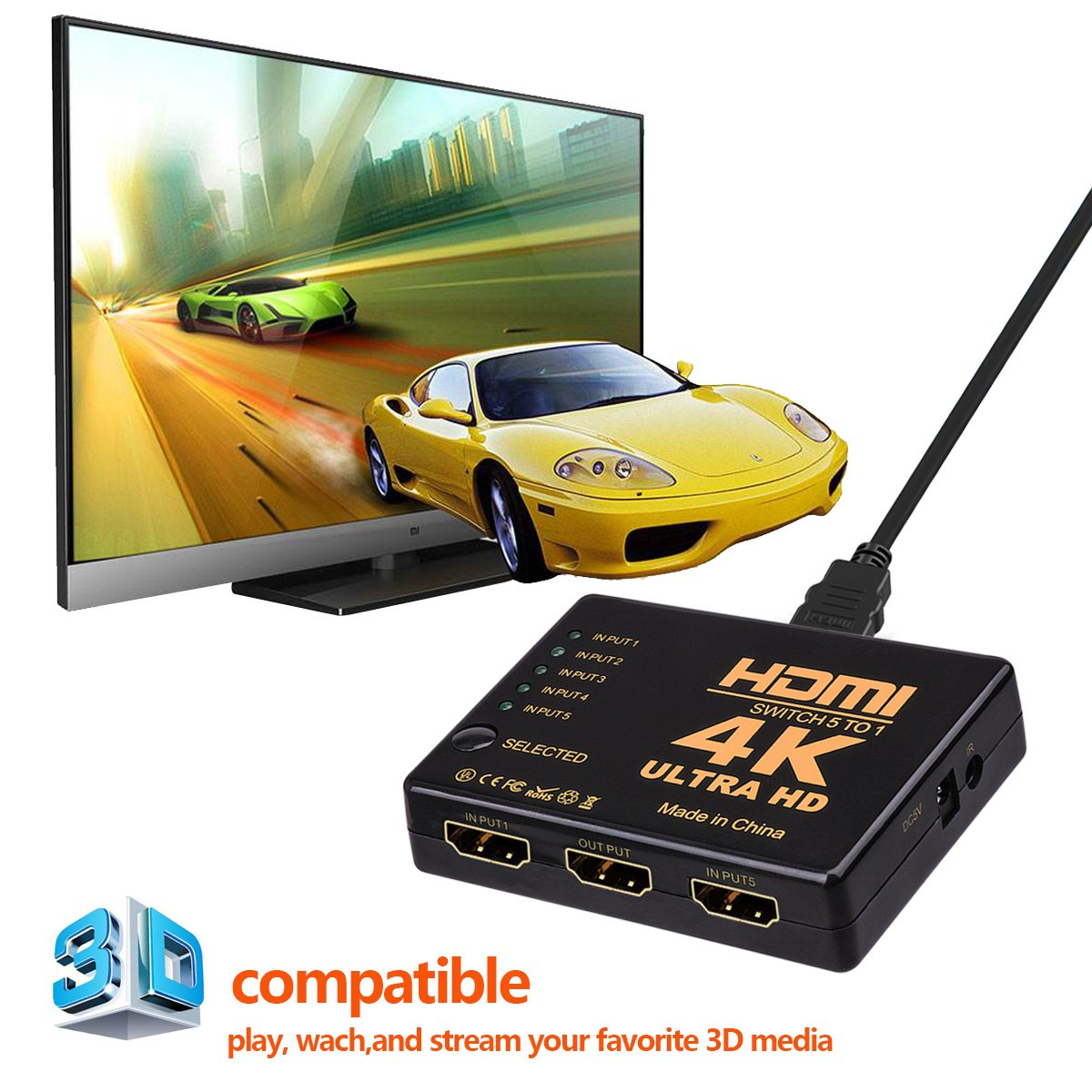HDMI Switch Splitter,NXLFH Intelligent 5-Port HDMI Switcher, Supports 4K, Full HD1080p, 3D with IR Remote 1080P HD Audio for Nintendo Switch, Xbox One, Roku 3, Apple TV HD TV XBox PS3 PS4 5 in 1 out by NXLFH (Image #3)