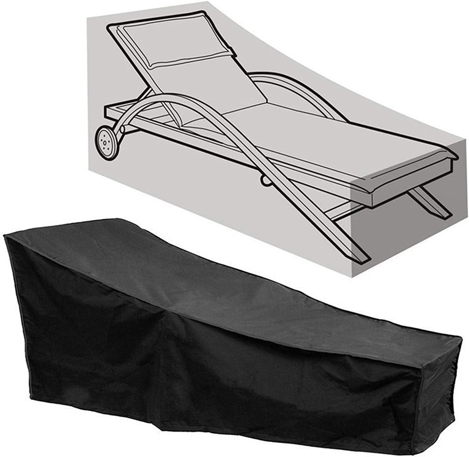 Patio Chaise Lounge Cover Waterproof Sunlounger CoverOutdoor Lounge Chair Cover Anti-UV and Dustproof Lawn Furniture Cover (Black, 1)