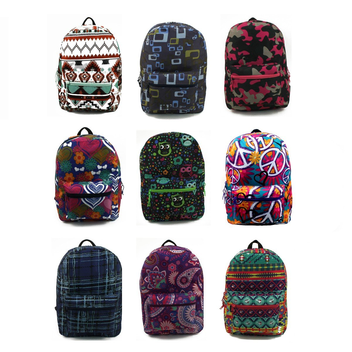 17'' Wholesale Padded Backpacks in Unique Prints - Case of 24