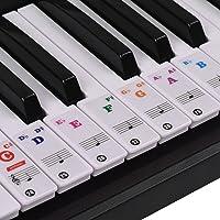 ammoon Pegatinas para Pianos de Colores Etiquetas Engomadas del Teclado de Piano para Teclados Clave 37/49/61/88 Transparente Extraíble para Niños Principiantes Aprendizaje Práctico de Piano