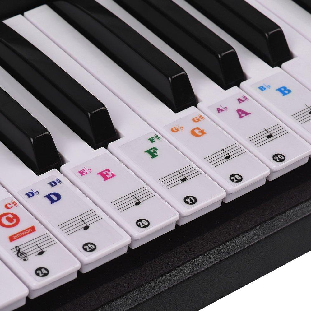 ammoon Pegatinas para Pianos Etiquetas Engomadas del Teclado de Piano para Clave 37/49/61/88 Teclados Extraíbles Vistoso para Niños Principiantes ...