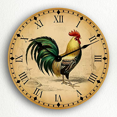 Classical Creations Rooster Traditional Kitchen Motif 12 Silent Wall Clock