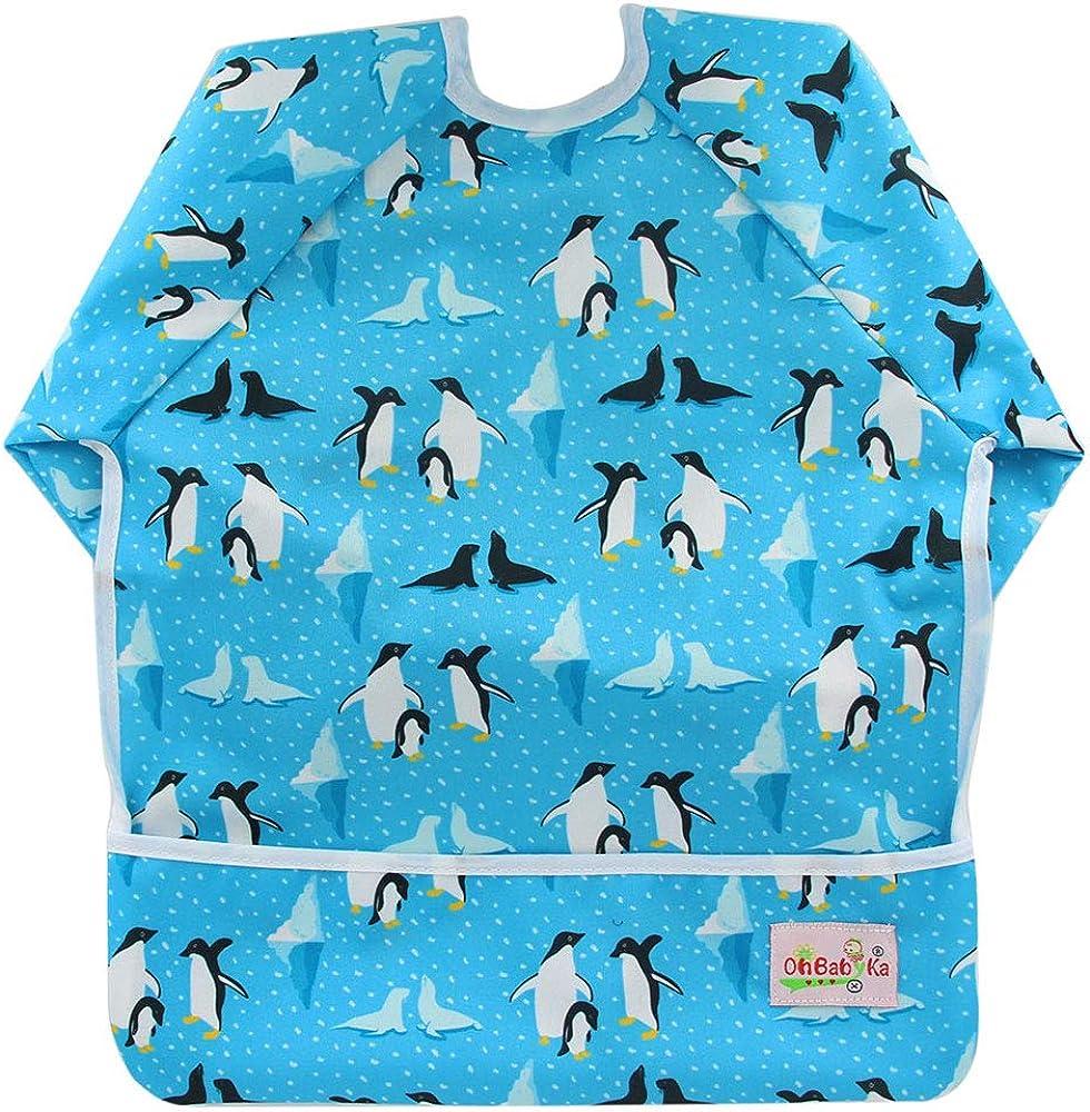 Baby Bibs with Sleeves/&Pocket Kids Waterproof Feeding Bibs,6-24 Months