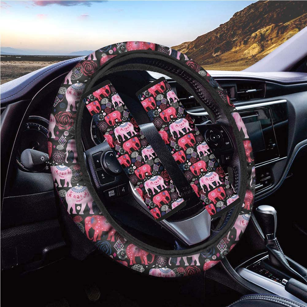 3Pieces Showudesigns American Flag Car Accessories Set Includes 1 Piece Steering Wheel Cover 2 Pieces Seat Belt Sets Covers Pattern Car Decoration