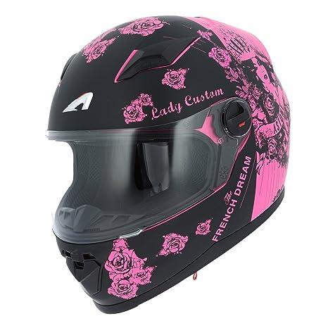 Amazon.es: Astone Helmets gt2g-ladyc-bps casco Moto Integral GT Lady Custom, Negro/Rosa, talla S